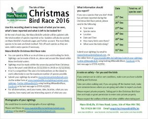 Christmas Bird Race recording sheet 2016
