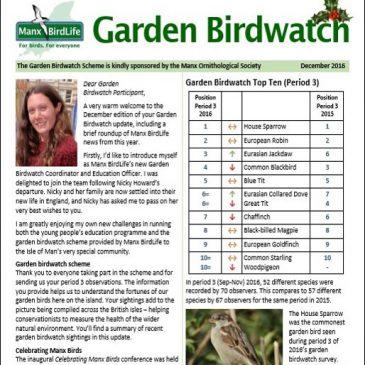 Garden Birdwatch Dec 2016 Update