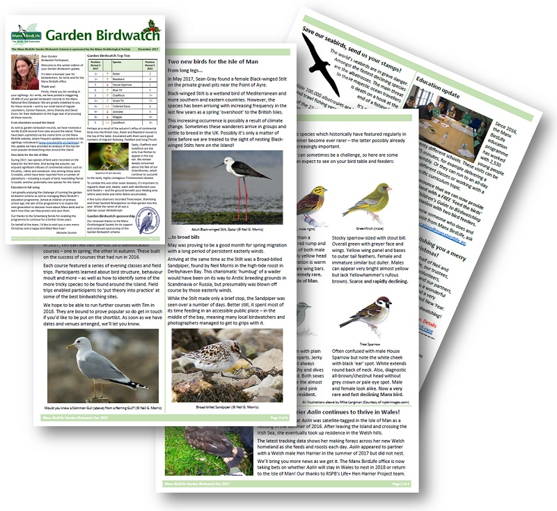 Manx BirdLife Garden Birdwatch update Dec 2017