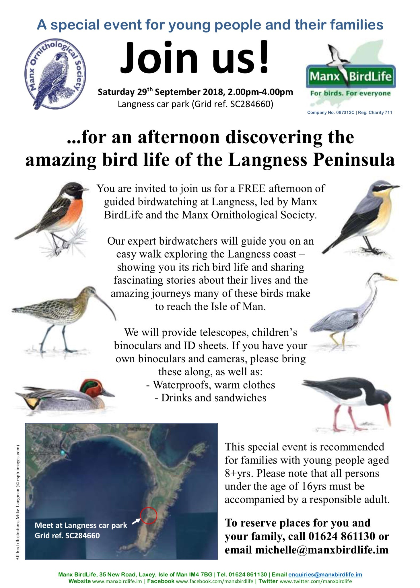 Join us for a special family event discovering the bird life of the Langness Peninsula on Saturday 29th September from 2.00-4.00pm. Meet at Langness car park (SC284660) from 1.30pm. All welcome. Attendance free of charge.