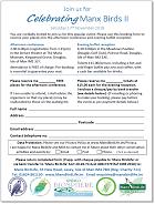 Celebrating Manx Birds 2018 booking form