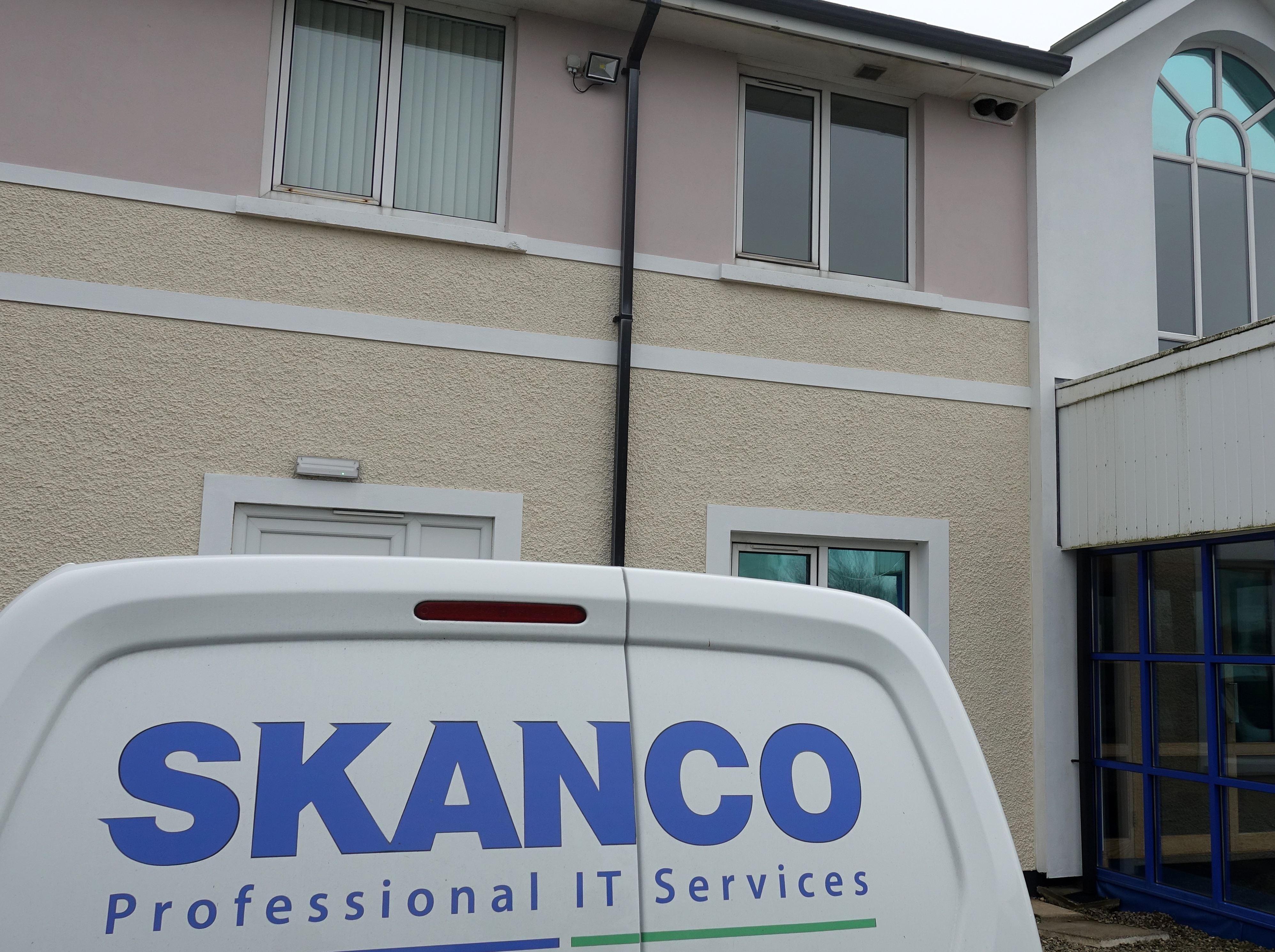 Newly installed House Martin nestboxes under the eaves of Skanco's Business Continuity building