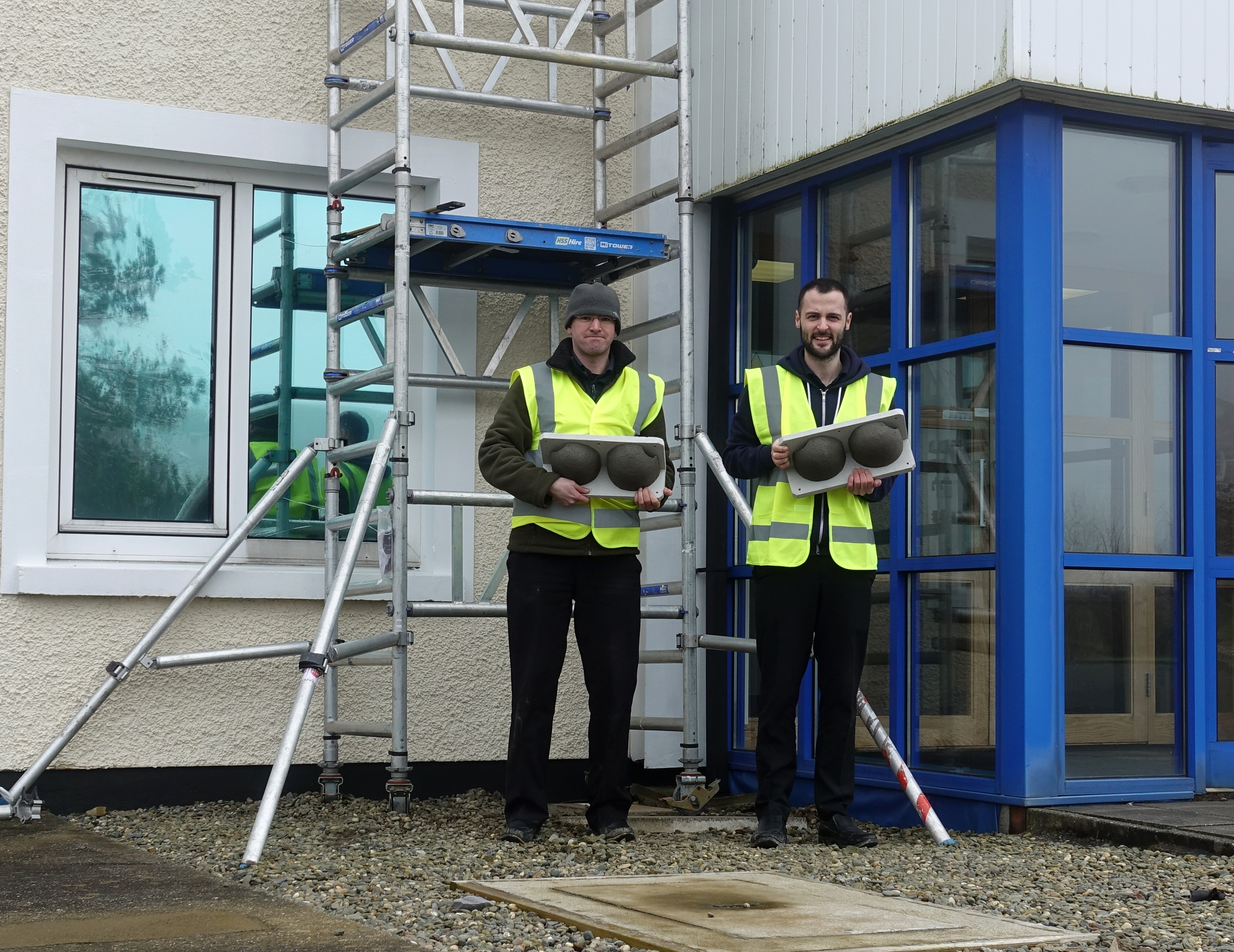 : Pete Hadfield (left) and Chris Carroon with House Martin nestboxes to be installed at Skanco's Business Continuity building