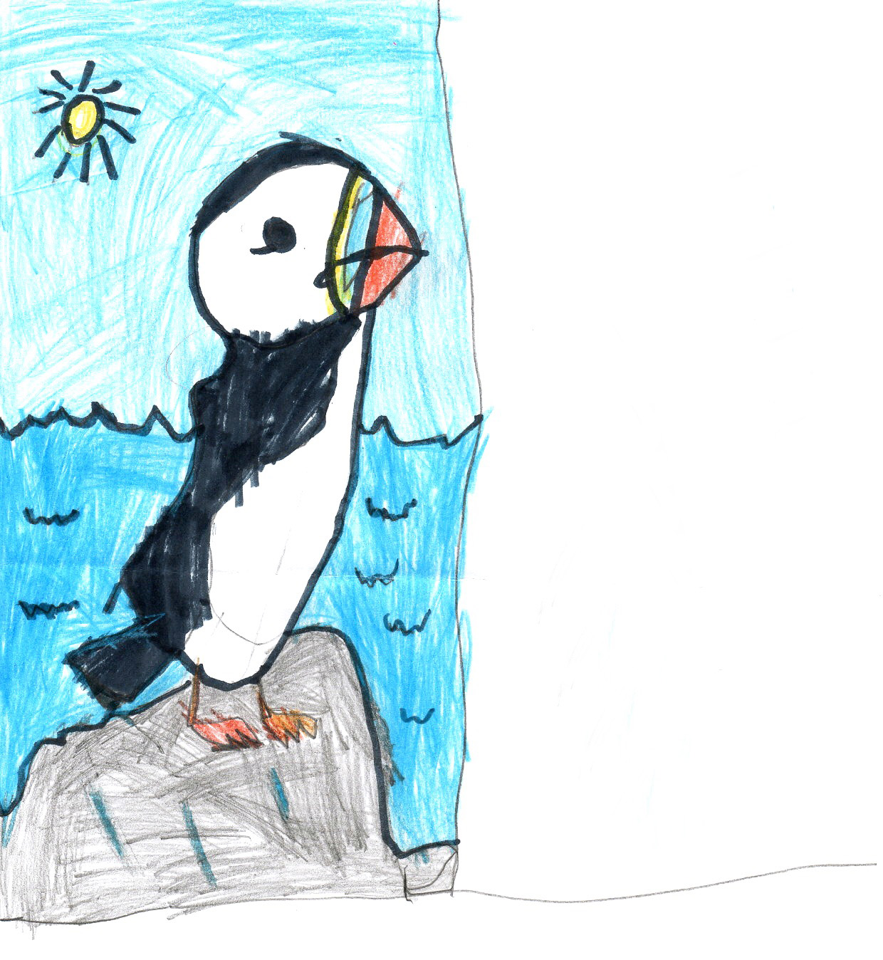 "Above: ""Puffin"" by Tristan Armstrong (Yr 2, Onchan School)"