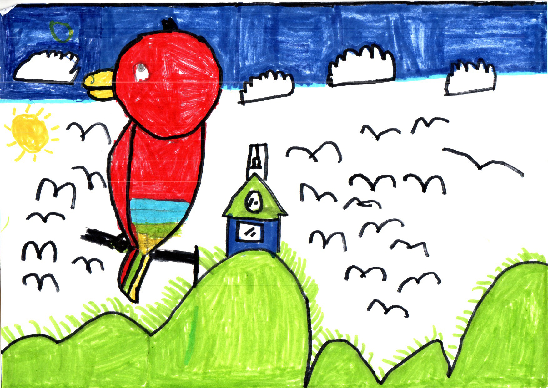"Above: ""My Favourite Bird"" by Finlo (Yr 3, Marown School)"