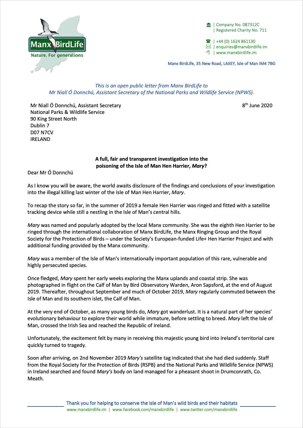 Open public letter to Mr Niall Ó Donnchú NWPS re the illegal poisoning of Mary page 1